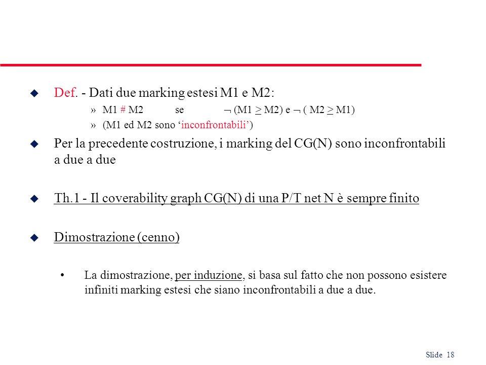 Slide 18 u Def. - Dati due marking estesi M1 e M2: »M1 # M2 se (M1 > M2) e ( M2 > M1) »(M1 ed M2 sono inconfrontabili) u Per la precedente costruzione