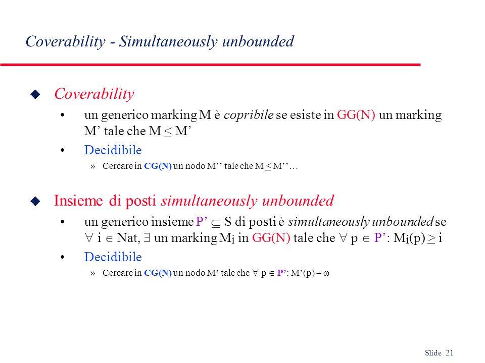 Slide 21 Coverability - Simultaneously unbounded u Coverability un generico marking M è copribile se esiste in GG(N) un marking M tale che M < M Decid