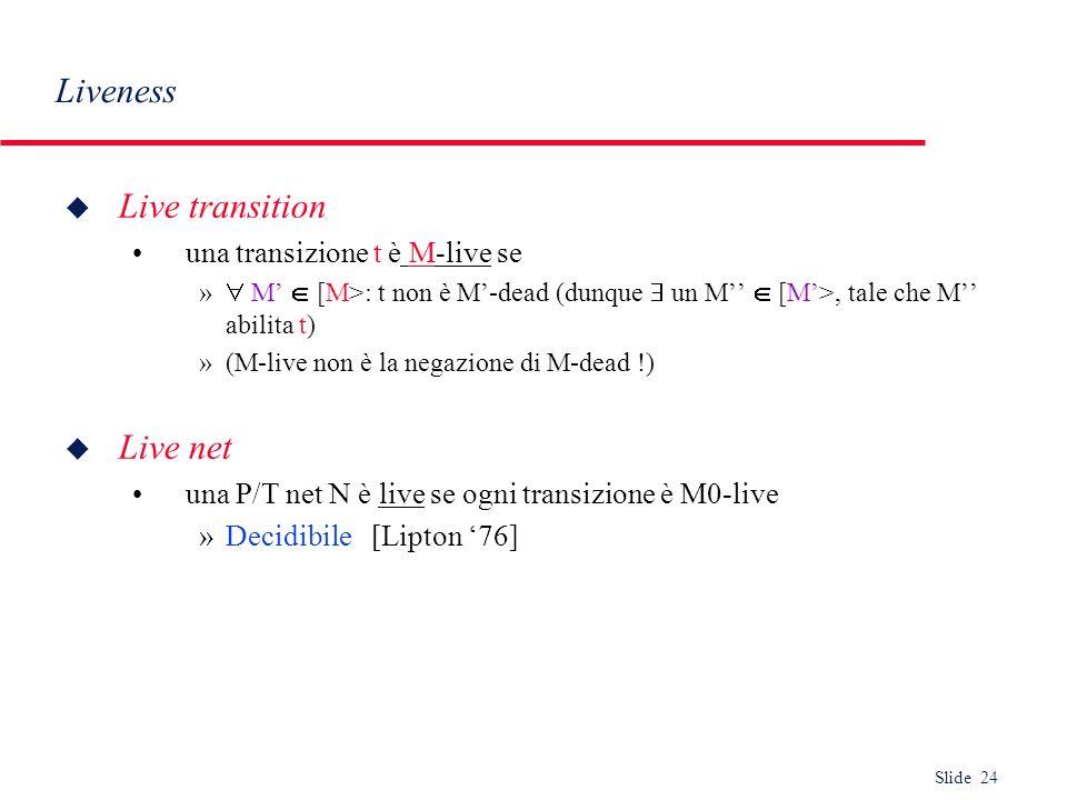 Slide 24 Liveness u Live transition una transizione t è M-live se » M [M>: t non è M-dead (dunque un M [M>, tale che M abilita t) »(M-live non è la ne
