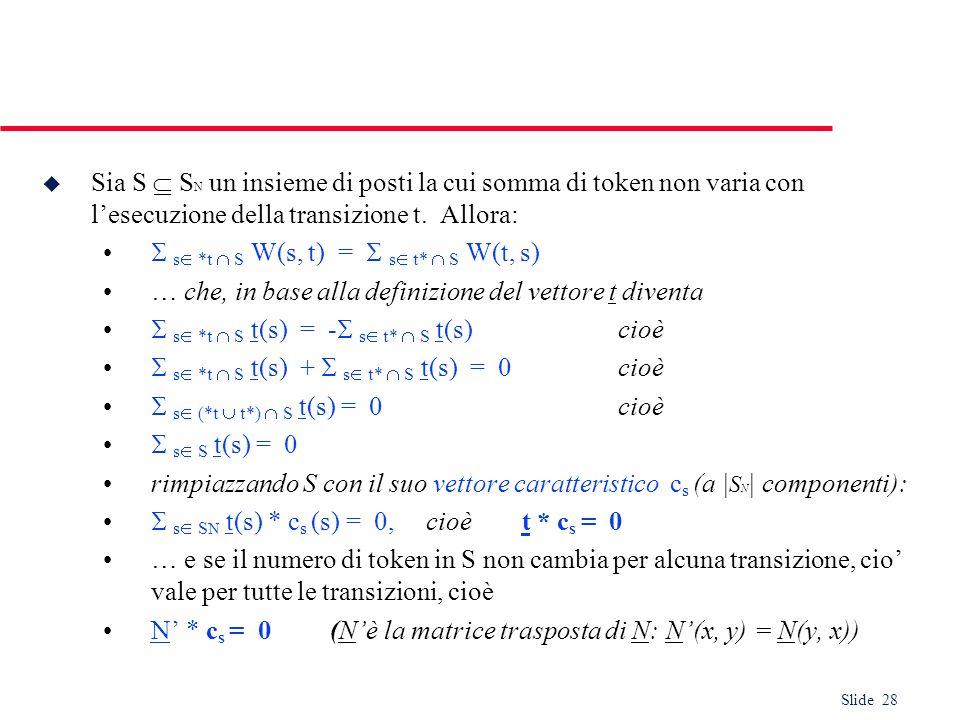 Slide 28 u Sia S S N un insieme di posti la cui somma di token non varia con lesecuzione della transizione t. Allora: s *t S W(s, t) = s t* S W(t, s)