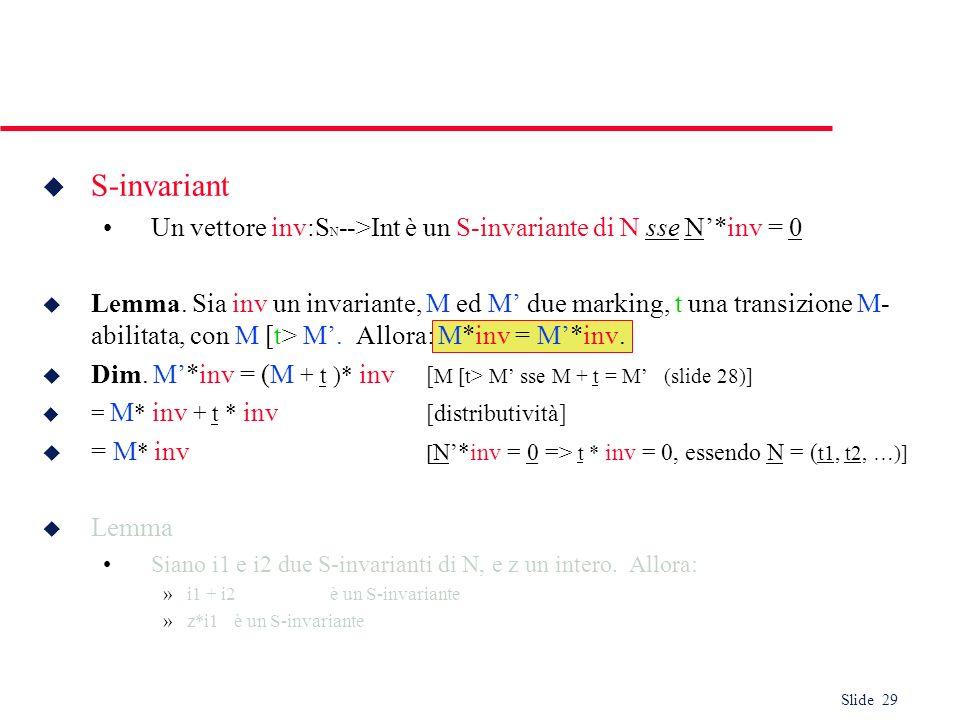 Slide 29 u S-invariant Un vettore inv:S N -->Int è un S-invariante di N sse N*inv = 0 u Lemma. Sia inv un invariante, M ed M due marking, t una transi