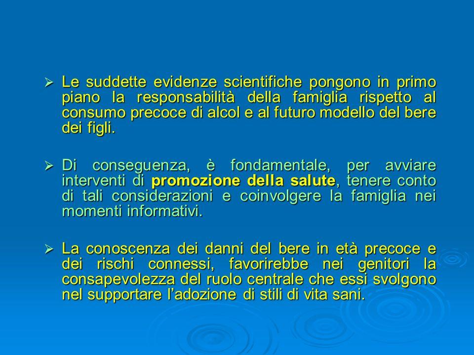 Le suddette evidenze scientifiche pongono in primo piano la responsabilità della famiglia rispetto al consumo precoce di alcol e al futuro modello del