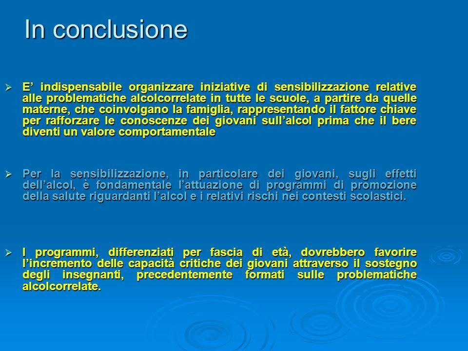 In conclusione E indispensabile organizzare iniziative di sensibilizzazione relative alle problematiche alcolcorrelate in tutte le scuole, a partire d