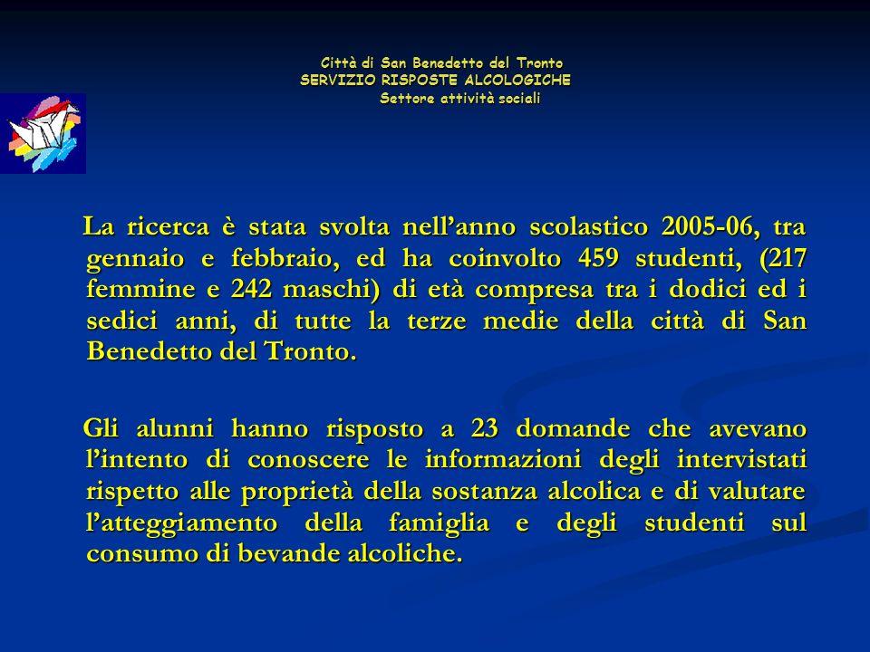 Città di San Benedetto del Tronto SERVIZIO RISPOSTE ALCOLOGICHE Settore attività sociali Città di San Benedetto del Tronto SERVIZIO RISPOSTE ALCOLOGICHE Settore attività sociali