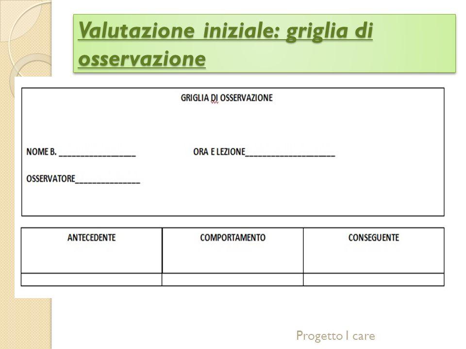 Valutazione iniziale: griglia di osservazione Progetto I care