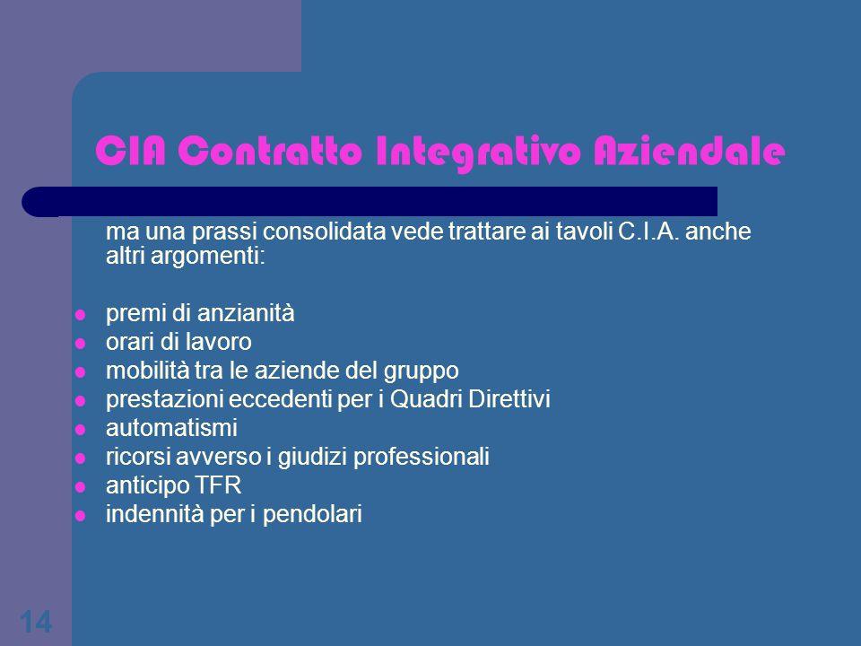 14 CIA Contratto Integrativo Aziendale ma una prassi consolidata vede trattare ai tavoli C.I.A. anche altri argomenti: premi di anzianità orari di lav