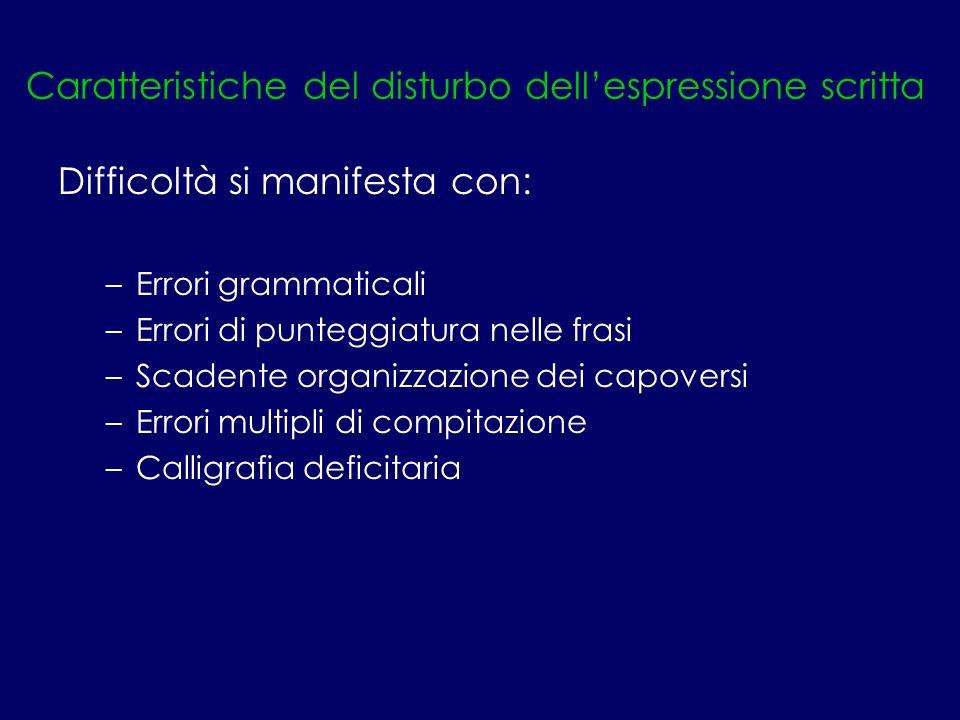 Caratteristiche del disturbo dellespressione scritta Difficoltà si manifesta con: –Errori grammaticali –Errori di punteggiatura nelle frasi –Scadente