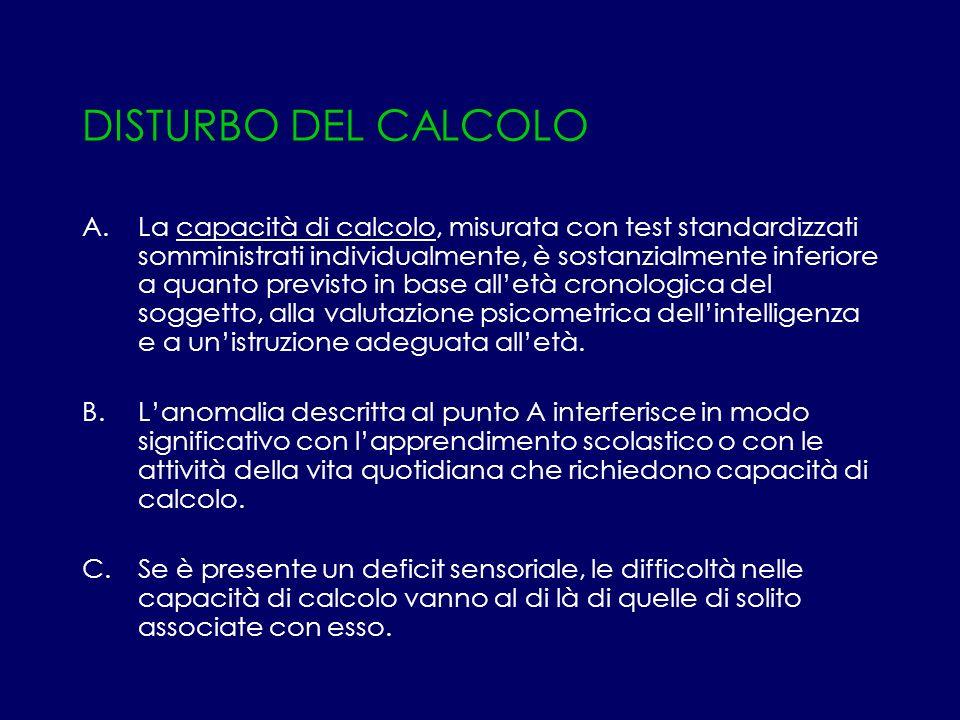 DISTURBO DEL CALCOLO A.La capacità di calcolo, misurata con test standardizzati somministrati individualmente, è sostanzialmente inferiore a quanto pr