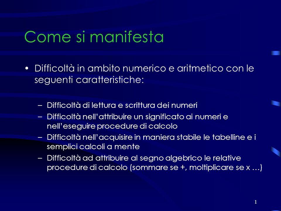 1 Come si manifesta Difficoltà in ambito numerico e aritmetico con le seguenti caratteristiche: –Difficoltà di lettura e scrittura dei numeri –Diffico