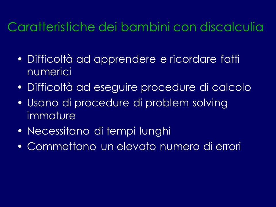 Caratteristiche dei bambini con discalculia Difficoltà ad apprendere e ricordare fatti numerici Difficoltà ad eseguire procedure di calcolo Usano di p