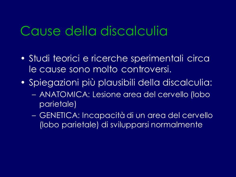 Cause della discalculia Studi teorici e ricerche sperimentali circa le cause sono molto controversi. Spiegazioni più plausibili della discalculia: –AN