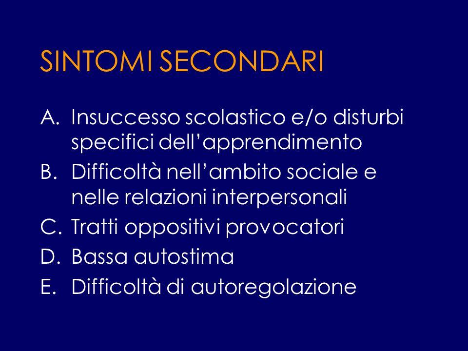 SINTOMI SECONDARI A.Insuccesso scolastico e/o disturbi specifici dellapprendimento B.Difficoltà nellambito sociale e nelle relazioni interpersonali C.