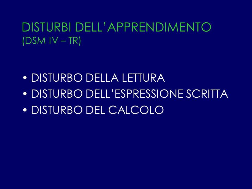 DISTURBI DELLAPPRENDIMENTO (DSM IV – TR) DISTURBO DELLA LETTURA DISTURBO DELLESPRESSIONE SCRITTA DISTURBO DEL CALCOLO
