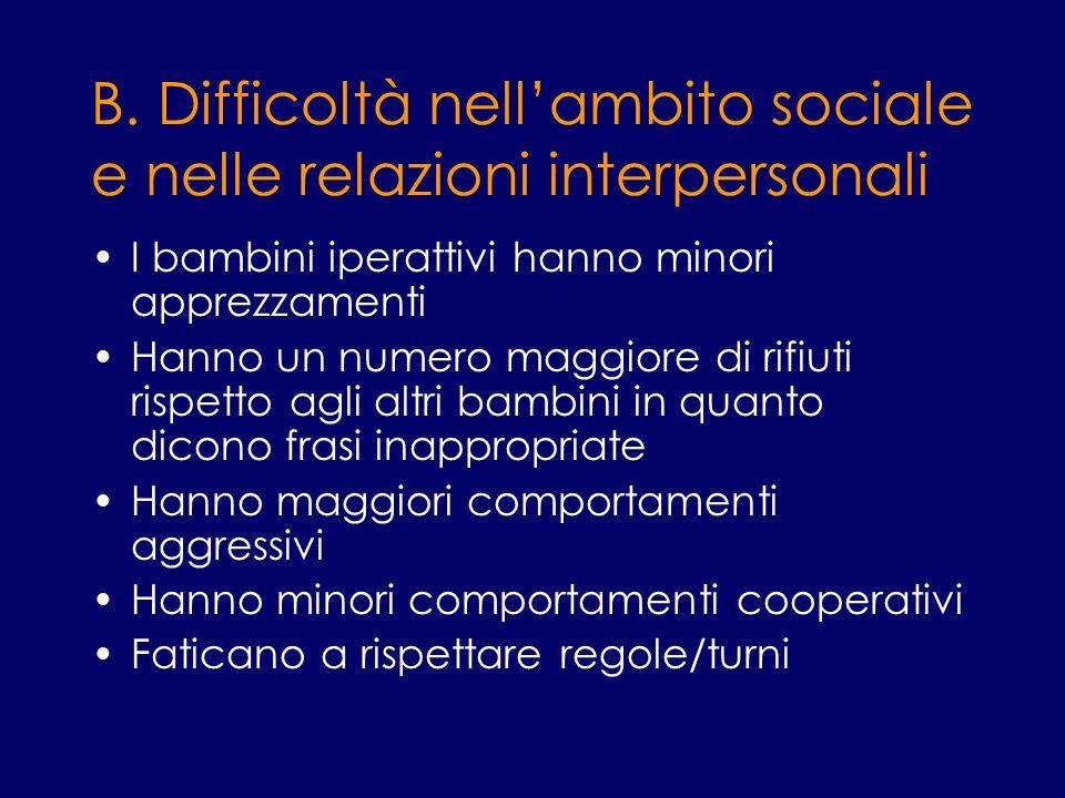 B. Difficoltà nellambito sociale e nelle relazioni interpersonali I bambini iperattivi hanno minori apprezzamenti Hanno un numero maggiore di rifiuti