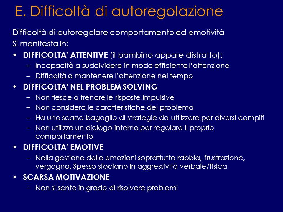 E. Difficoltà di autoregolazione Difficoltà di autoregolare comportamento ed emotività Si manifesta in: DIFFICOLTA ATTENTIVE (il bambino appare distra