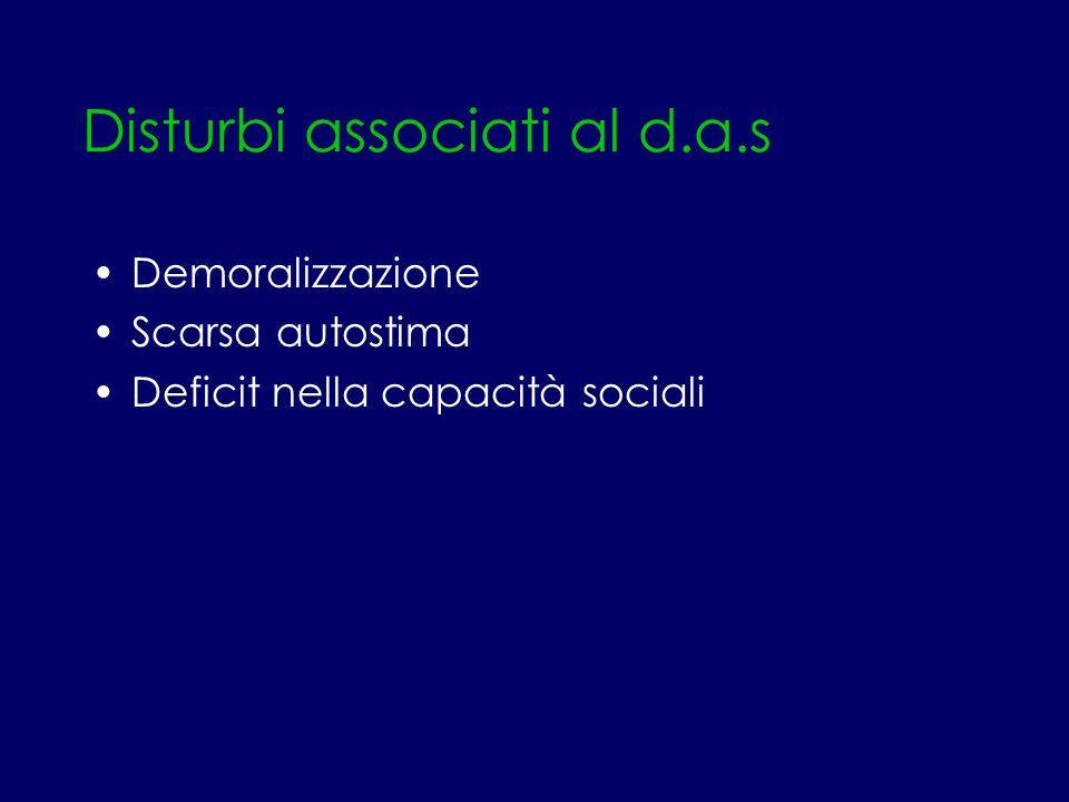 Disturbi associati al d.a.s Demoralizzazione Scarsa autostima Deficit nella capacità sociali