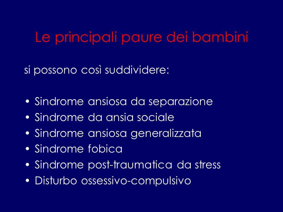 Le principali paure dei bambini si possono così suddividere: Sindrome ansiosa da separazione Sindrome da ansia sociale Sindrome ansiosa generalizzata