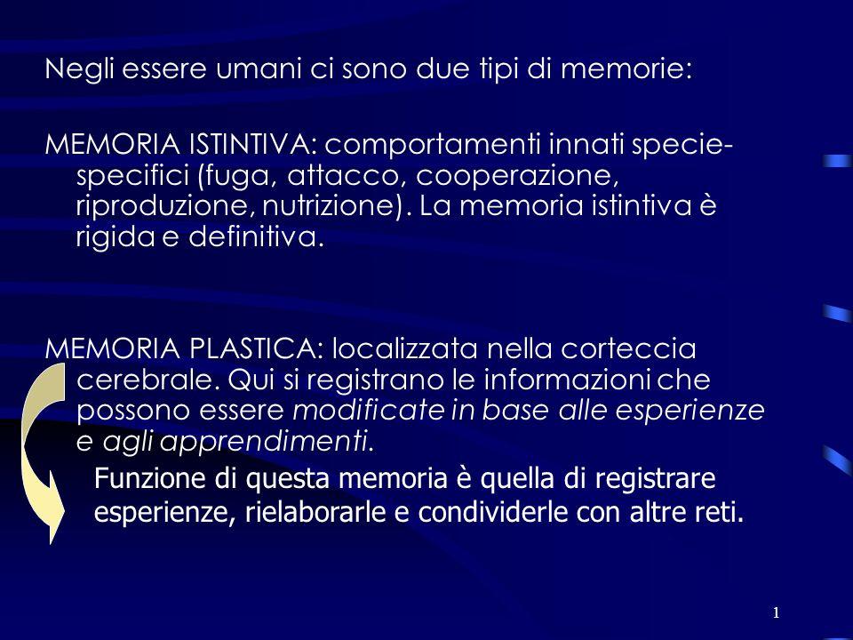 1 Negli essere umani ci sono due tipi di memorie: MEMORIA ISTINTIVA: comportamenti innati specie- specifici (fuga, attacco, cooperazione, riproduzione