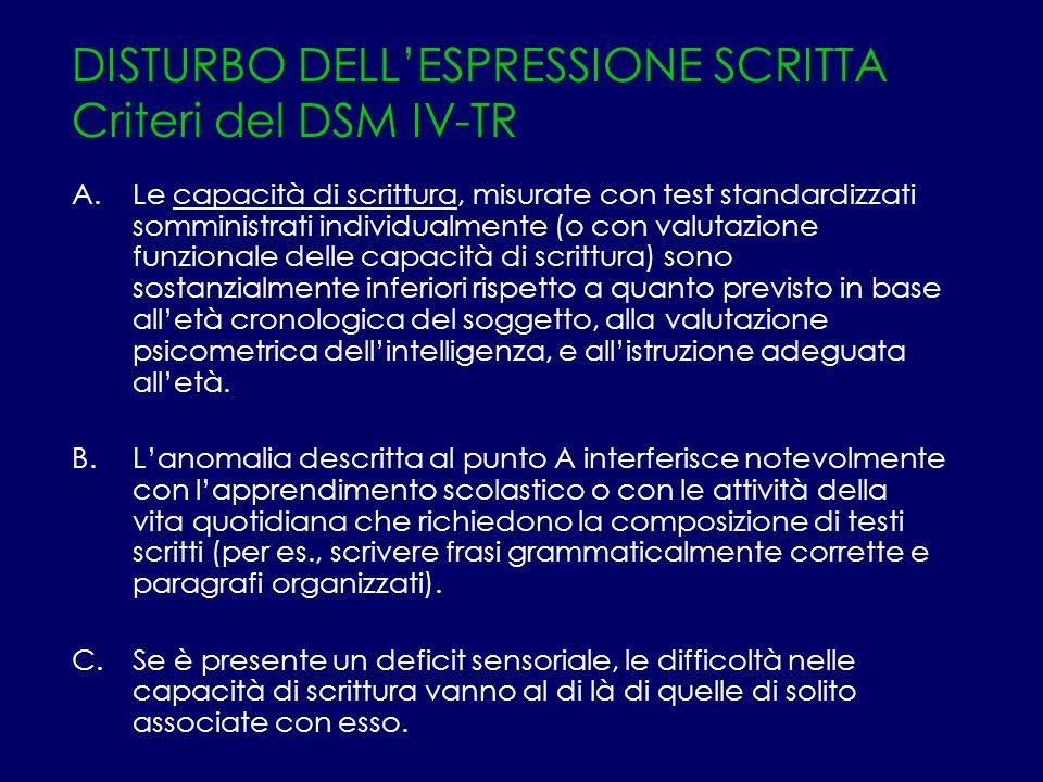 DISTURBO DELLESPRESSIONE SCRITTA Criteri del DSM IV-TR A.Le capacità di scrittura, misurate con test standardizzati somministrati individualmente (o c
