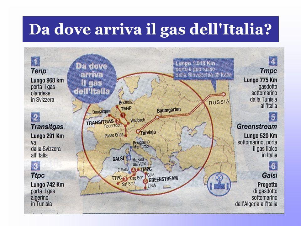 Da dove arriva il gas dell'Italia?