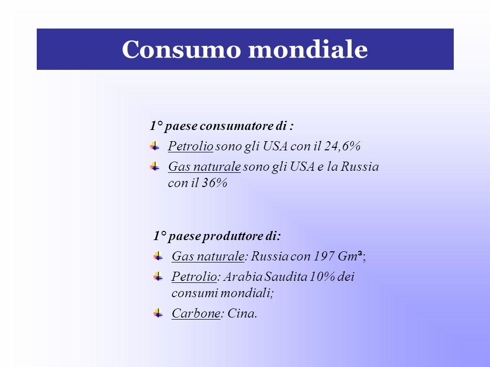 Consumo mondiale 1° paese produttore di: Gas naturale: Russia con 197 Gm ³ ; Petrolio: Arabia Saudita 10% dei consumi mondiali; Carbone: Cina. 1° paes