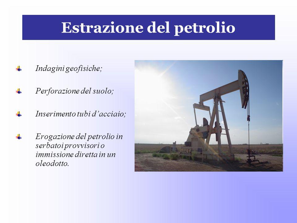Estrazione del petrolio Indagini geofisiche; Perforazione del suolo; Inserimento tubi dacciaio; Erogazione del petrolio in serbatoi provvisori o immis