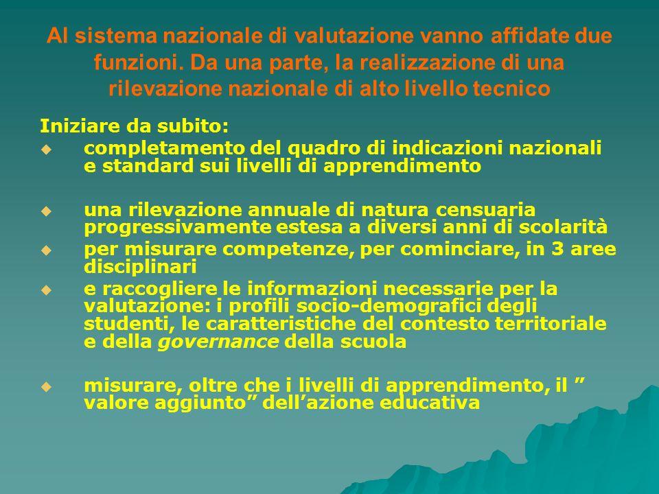 Al sistema nazionale di valutazione vanno affidate due funzioni. Da una parte, la realizzazione di una rilevazione nazionale di alto livello tecnico I