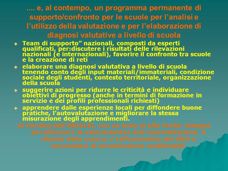 .... e, al contempo, un programma permanente di supporto/confronto per le scuole per lanalisi e lutilizzo della valutazione e per lelaborazione di dia