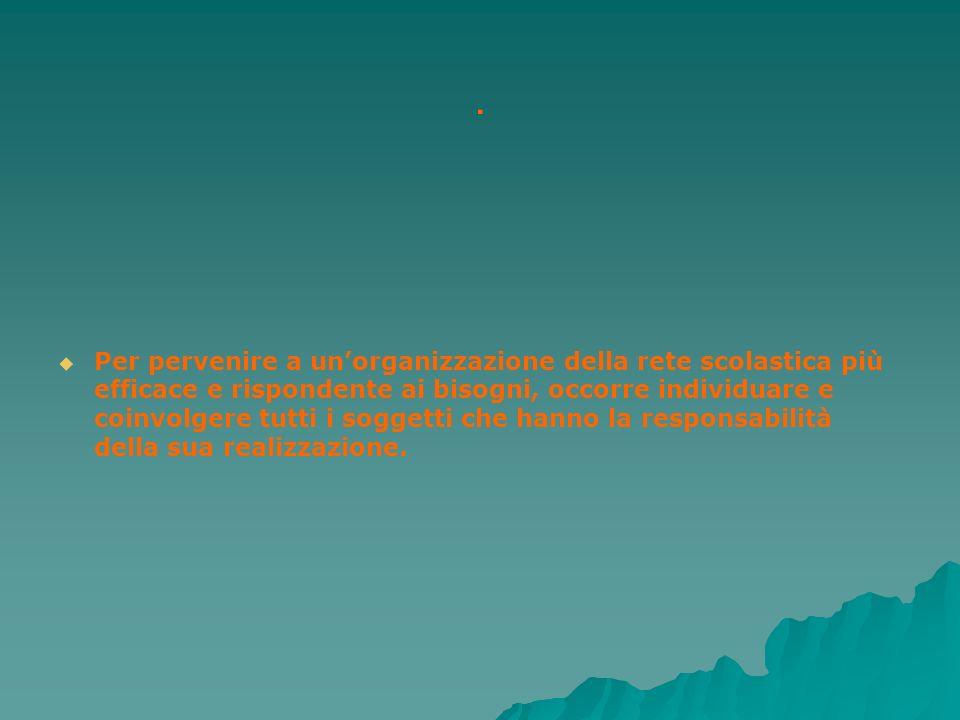 . Per pervenire a unorganizzazione della rete scolastica più efficace e rispondente ai bisogni, occorre individuare e coinvolgere tutti i soggetti che