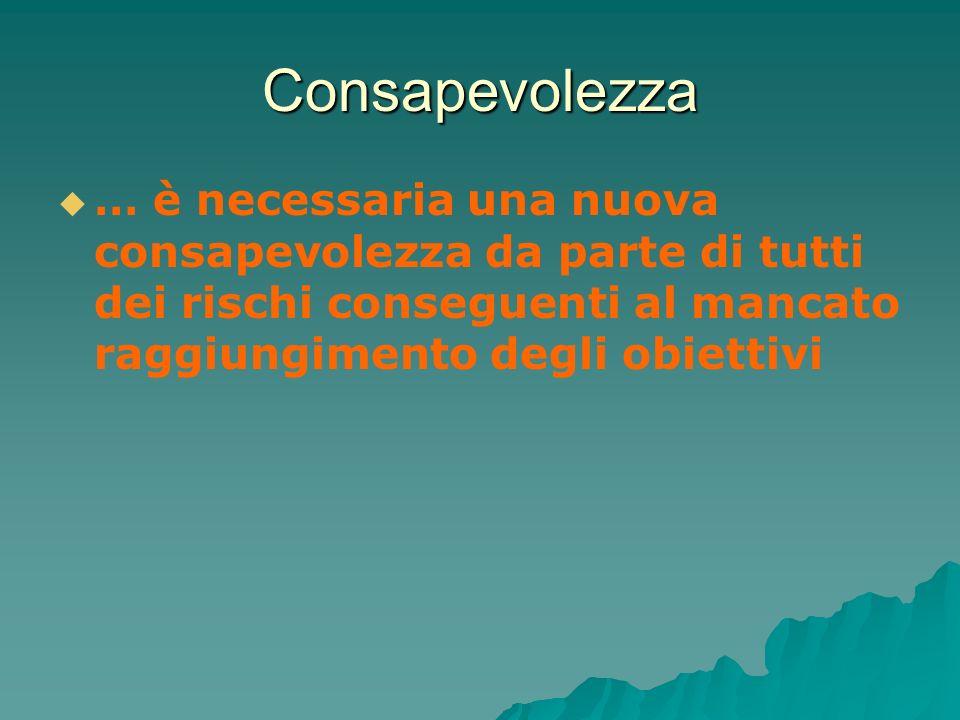 Consapevolezza … è necessaria una nuova consapevolezza da parte di tutti dei rischi conseguenti al mancato raggiungimento degli obiettivi