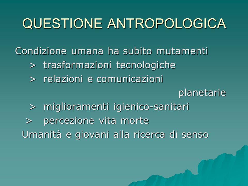 QUESTIONE ANTROPOLOGICA Condizione umana ha subito mutamenti > trasformazioni tecnologiche > trasformazioni tecnologiche > relazioni e comunicazioni >