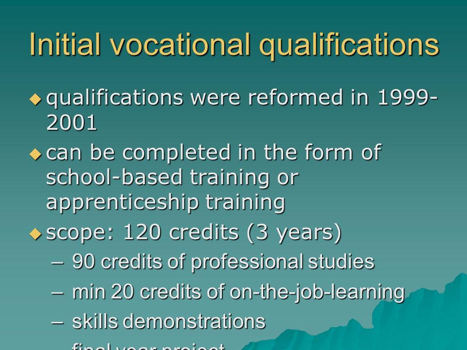 Initial vocational qualifications qualifications were reformed in 1999- 2001 qualifications were reformed in 1999- 2001 can be completed in the form o
