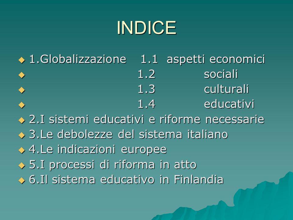 INDICE 1.Globalizzazione 1.1 aspetti economici 1.Globalizzazione 1.1 aspetti economici 1.2 sociali 1.2 sociali 1.3 culturali 1.3 culturali 1.4 educati