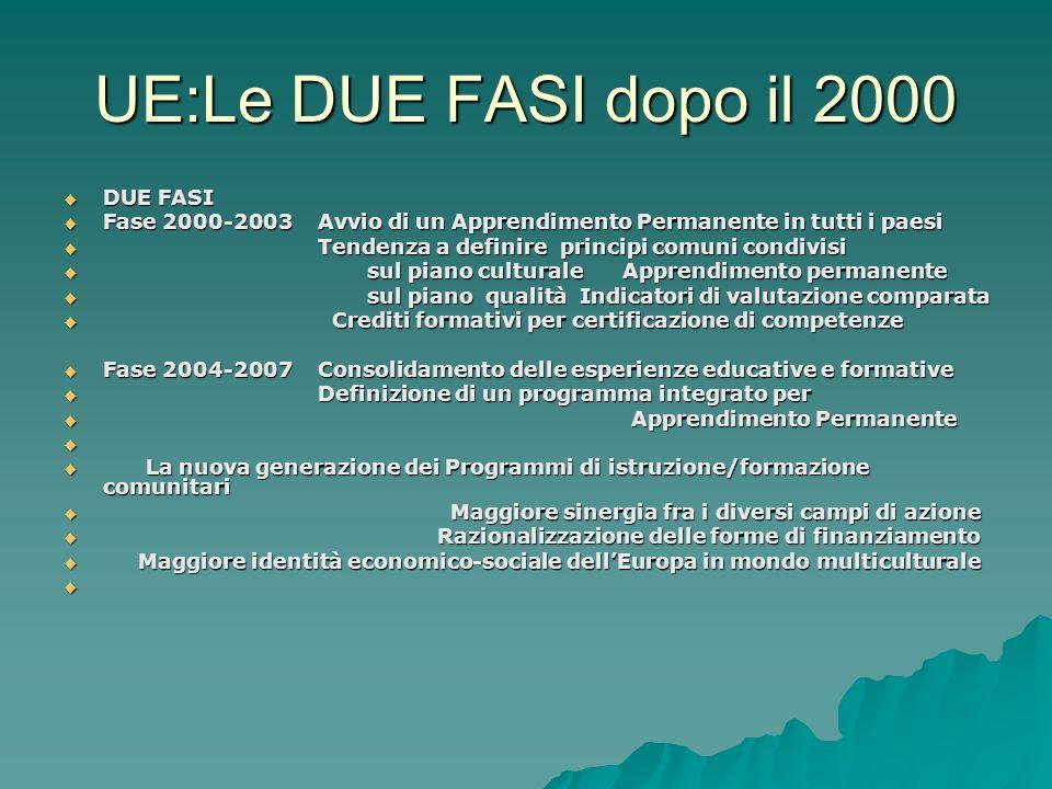 UE:Le DUE FASI dopo il 2000 DUE FASI DUE FASI Fase 2000-2003 Avvio di un Apprendimento Permanente in tutti i paesi Fase 2000-2003 Avvio di un Apprendi