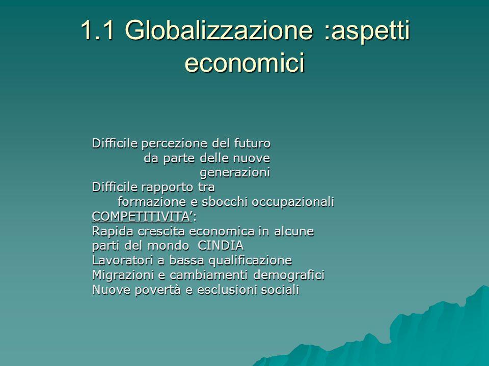 1.1 Globalizzazione :aspetti economici Difficile percezione del futuro da parte delle nuove da parte delle nuove generazioni generazioni Difficile rap