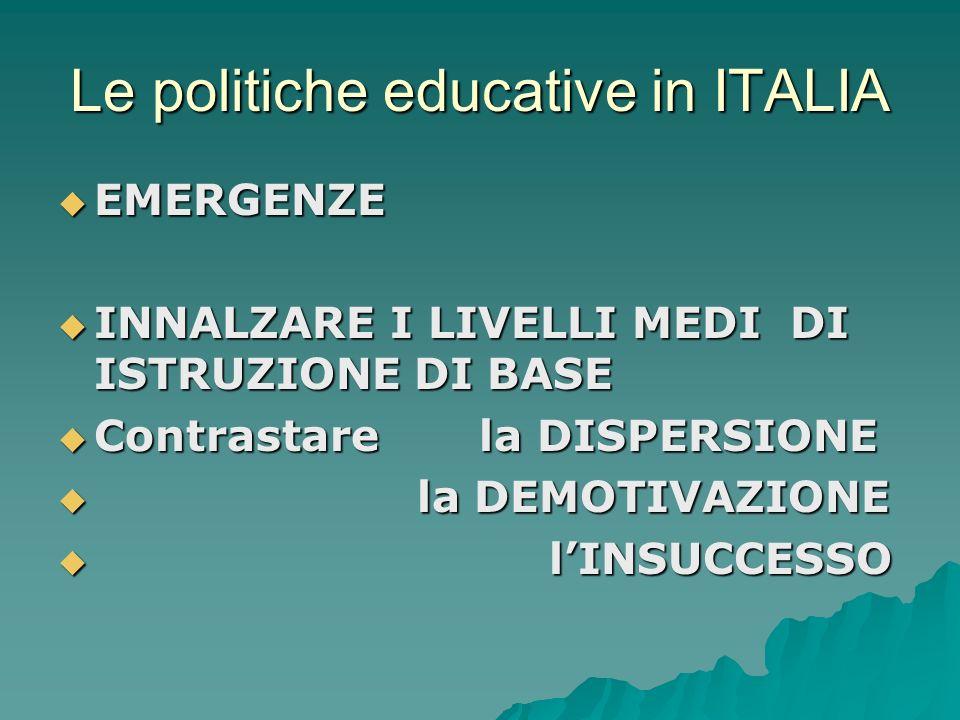 Le politiche educative in ITALIA EMERGENZE EMERGENZE INNALZARE I LIVELLI MEDI DI ISTRUZIONE DI BASE INNALZARE I LIVELLI MEDI DI ISTRUZIONE DI BASE Con