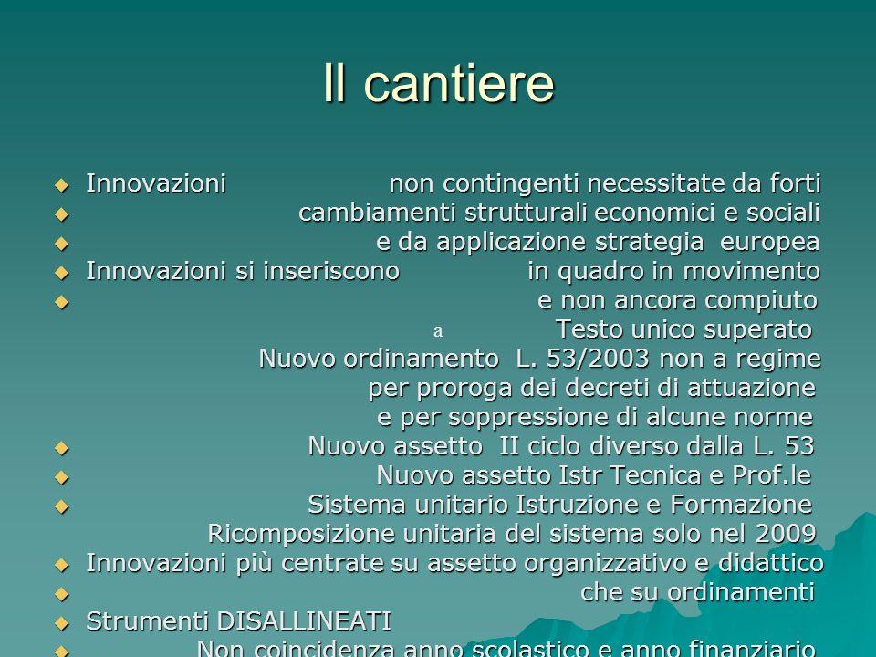 Il cantiere Innovazioni non contingenti necessitate da forti Innovazioni non contingenti necessitate da forti cambiamenti strutturali economici e soci