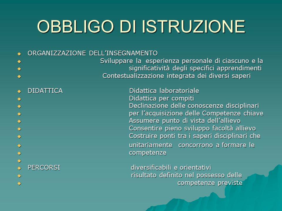 OBBLIGO DI ISTRUZIONE ORGANIZZAZIONE DELLINSEGNAMENTO ORGANIZZAZIONE DELLINSEGNAMENTO Sviluppare la esperienza personale di ciascuno e la Sviluppare l