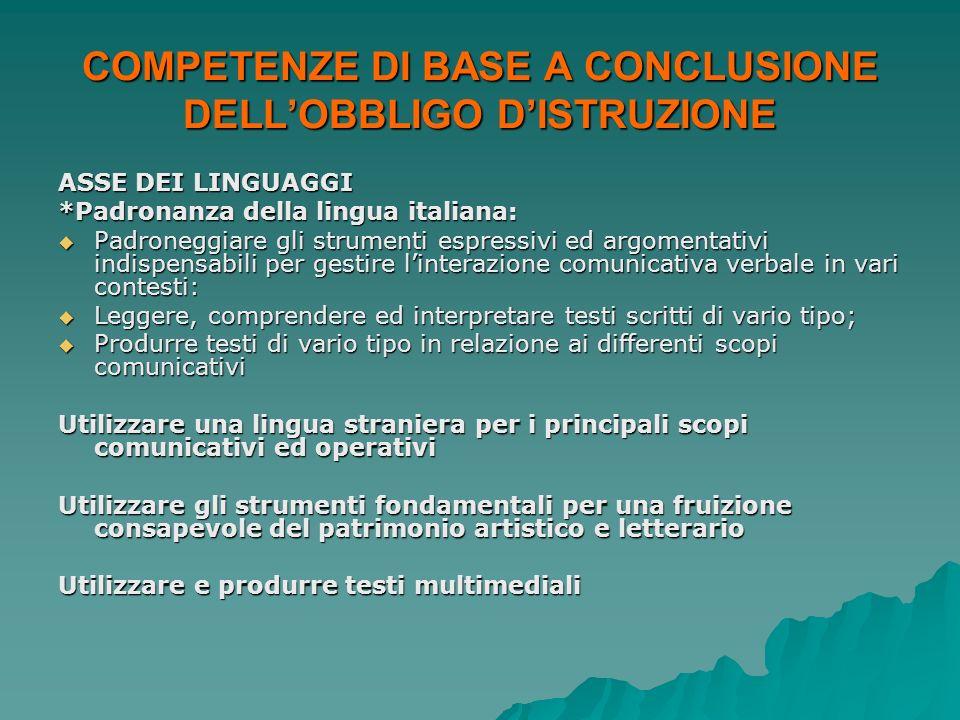 COMPETENZE DI BASE A CONCLUSIONE DELLOBBLIGO DISTRUZIONE ASSE DEI LINGUAGGI *Padronanza della lingua italiana: Padroneggiare gli strumenti espressivi
