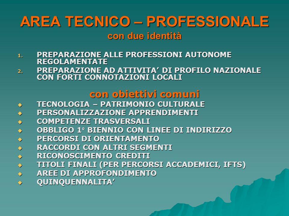 AREA TECNICO – PROFESSIONALE con due identità 1. PREPARAZIONE ALLE PROFESSIONI AUTONOME REGOLAMENTATE 2. PREPARAZIONE AD ATTIVITA DI PROFILO NAZIONALE