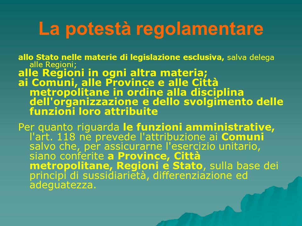 La potestà regolamentare allo Stato nelle materie di legislazione esclusiva, salva delega alle Regioni; alle Regioni in ogni altra materia; ai Comuni,