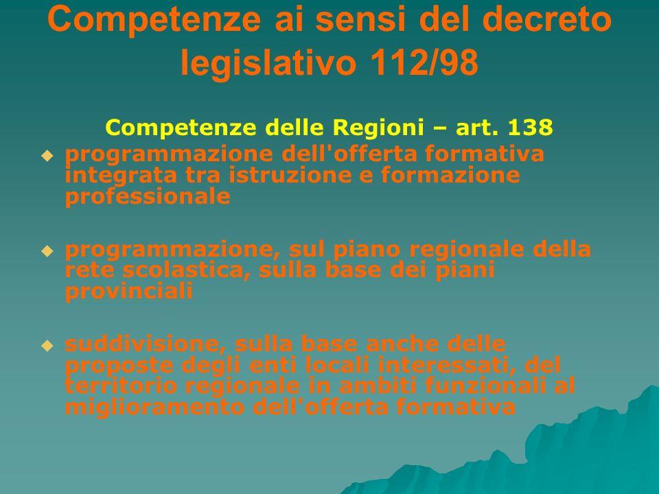 Competenze ai sensi del decreto legislativo 112/98 Competenze delle Regioni – art. 138 programmazione dell'offerta formativa integrata tra istruzione