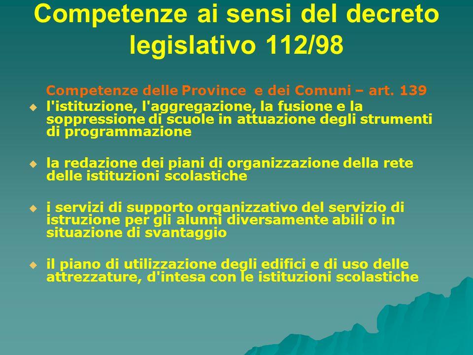 Competenze ai sensi del decreto legislativo 112/98 Competenze delle Province e dei Comuni – art. 139 l'istituzione, l'aggregazione, la fusione e la so