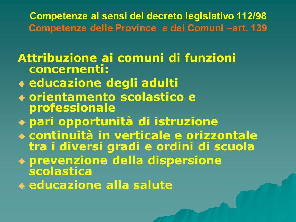 Competenze ai sensi del decreto legislativo 112/98 Competenze delle Province e dei Comuni –art. 139 Attribuzione ai comuni di funzioni concernenti: ed