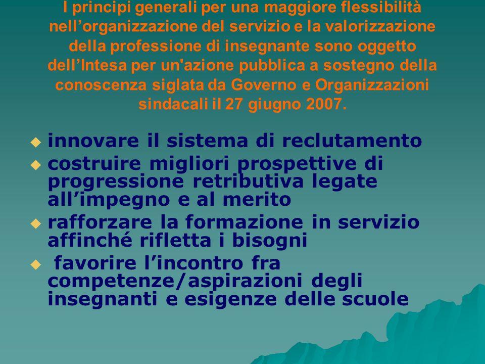 I principi generali per una maggiore flessibilità nellorganizzazione del servizio e la valorizzazione della professione di insegnante sono oggetto del
