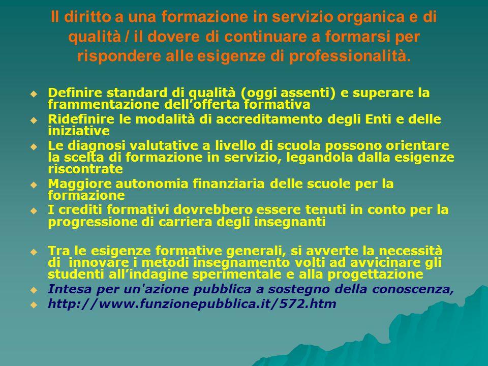 Il diritto a una formazione in servizio organica e di qualità / il dovere di continuare a formarsi per rispondere alle esigenze di professionalità. De