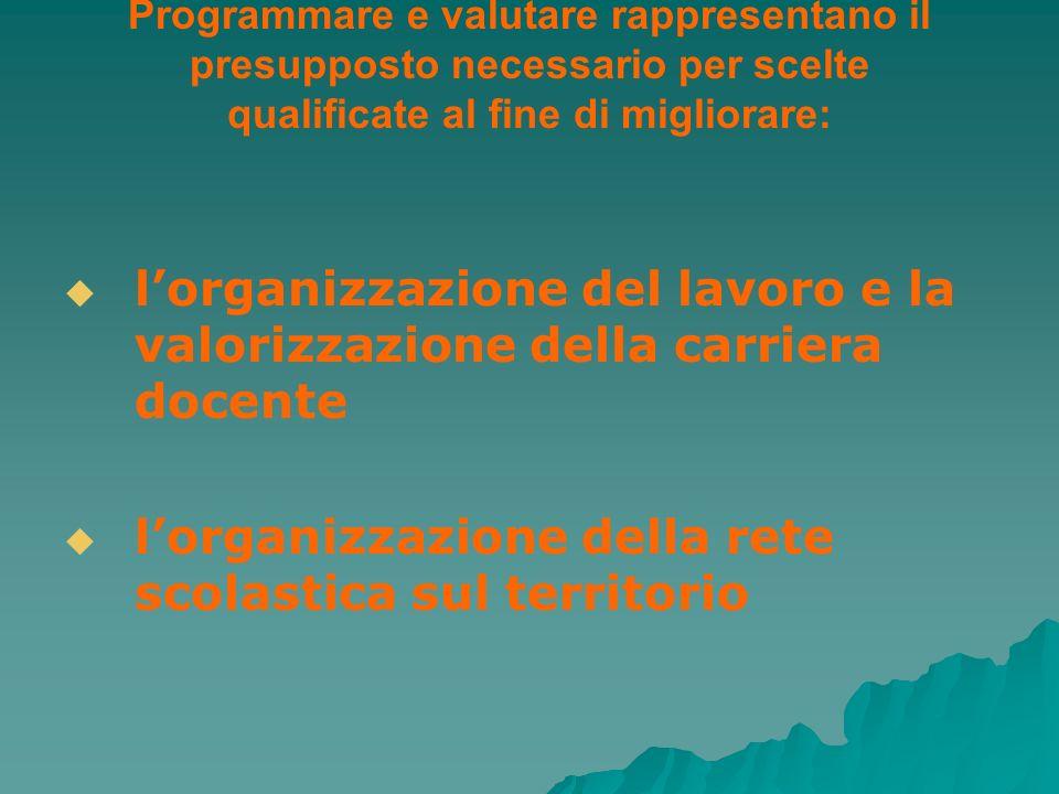 Programmare e valutare rappresentano il presupposto necessario per scelte qualificate al fine di migliorare: lorganizzazione del lavoro e la valorizza