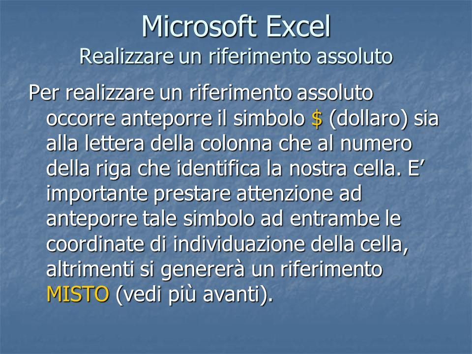 Microsoft Excel Realizzare un riferimento assoluto Per realizzare un riferimento assoluto occorre anteporre il simbolo $ (dollaro) sia alla lettera de