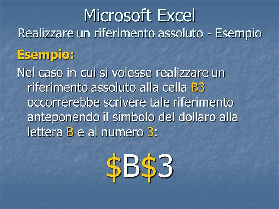 Microsoft Excel Realizzare un riferimento assoluto - Esempio Esempio: Nel caso in cui si volesse realizzare un riferimento assoluto alla cella B3 occo