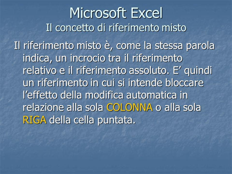 Microsoft Excel Il concetto di riferimento misto Il riferimento misto è, come la stessa parola indica, un incrocio tra il riferimento relativo e il ri